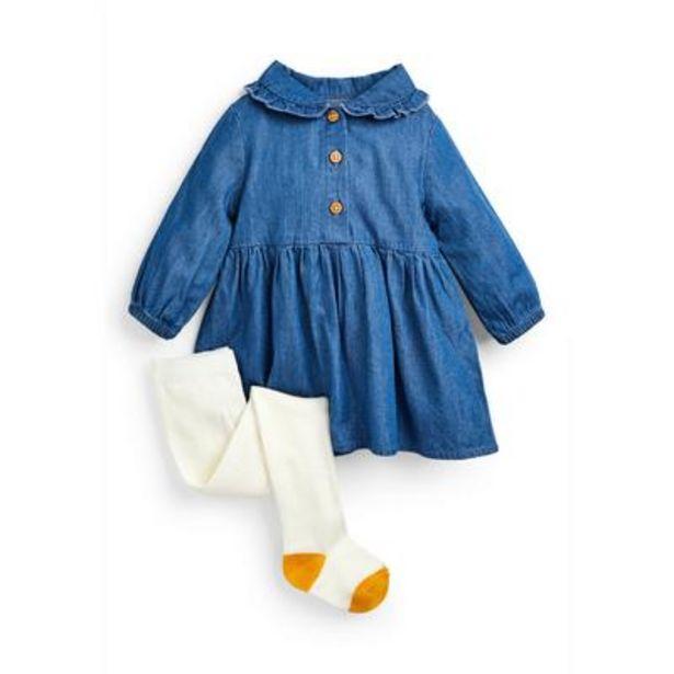 Oferta de Conjunto de vestido vaquero azul y leotardos para bebé niña por 11€