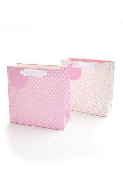 Oferta de Bolsa de regalo rosa y blanco con corazones por 1,3€