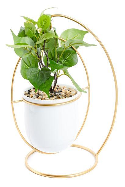Oferta de Macetero colgante en blanco y dorado con planta artificial por 12€