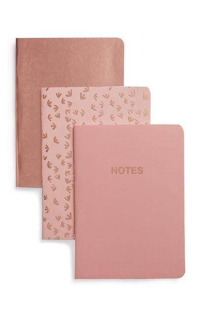 Oferta de Pack de 3 cuadernos A6 en tono oro rosa y rosa por 1,5€