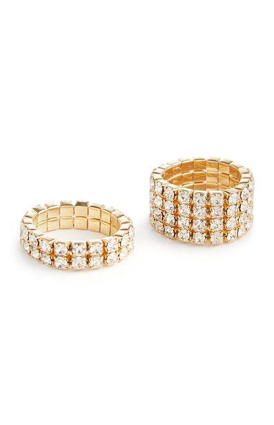 Oferta de Pack de 2 anillos elásticos dorados con strass por 3€