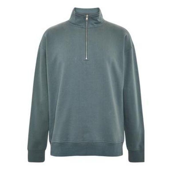 Oferta de Jersey azul con cuello y cremallera parcial Elevated Essentials por 20€