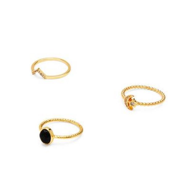 Oferta de Pack de 3 anillos semipreciosos bañados en oro por 10€
