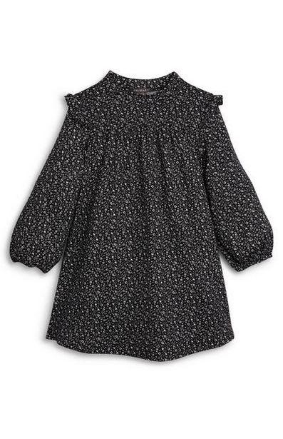 Oferta de Vestido suave negro con estampado y volantes para niña pequeña por 9€