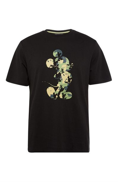 Oferta de Camiseta negra con estampado de Mickey Mouse de camuflaje por 7€