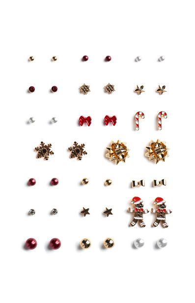 Oferta de Pack de 20 pares de pendientes de botón navideños por 20€