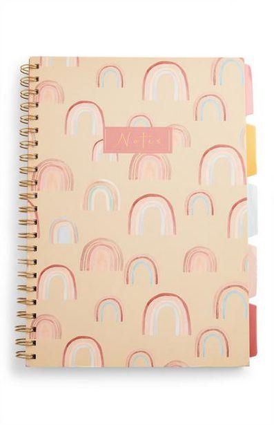 Oferta de Cuaderno A4 con pestañas con estampado arcoíris por 3€