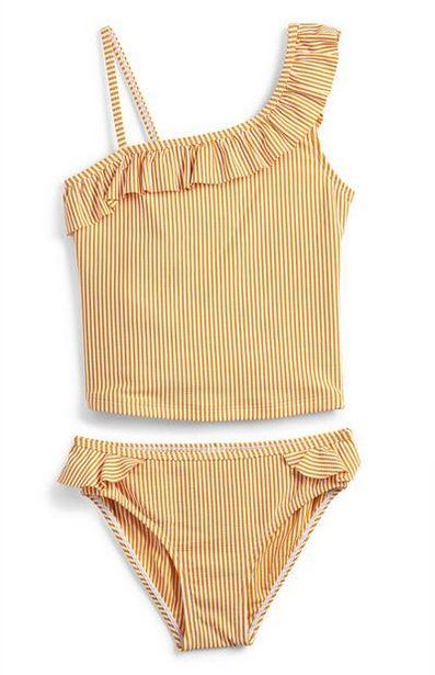 Oferta de Tankini beige en tejido mil rayas para niña mayor por 8€