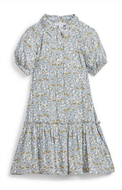Oferta de Vestido camisero azul con estampado de florecitas para niña pequeña por 11€