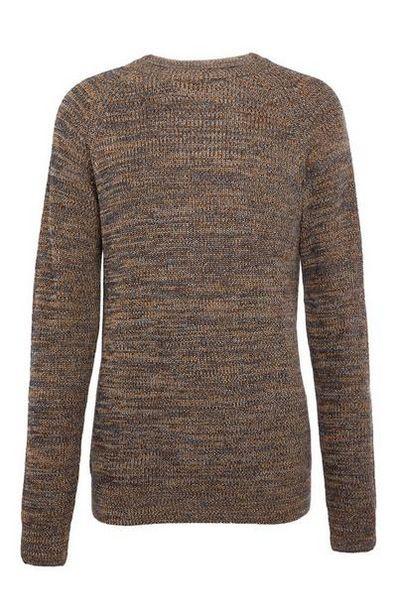 Oferta de Jersey de canalé gris y beige con textura por 13€