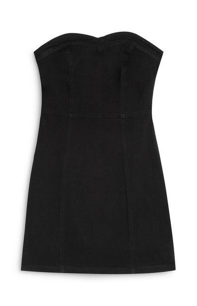 Oferta de Vestido ceñido negro con escote palabra de honor por 15€