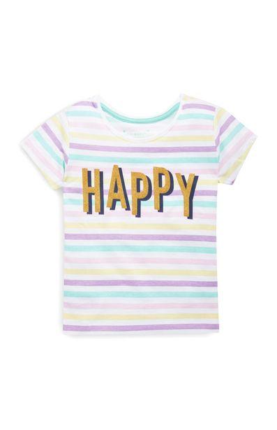 Oferta de Camiseta con texto «Happy» para niña pequeña por 2,5€