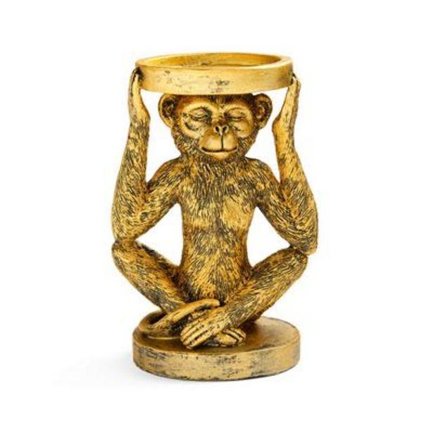 Oferta de Portavelas dorado en forma mono por 3€