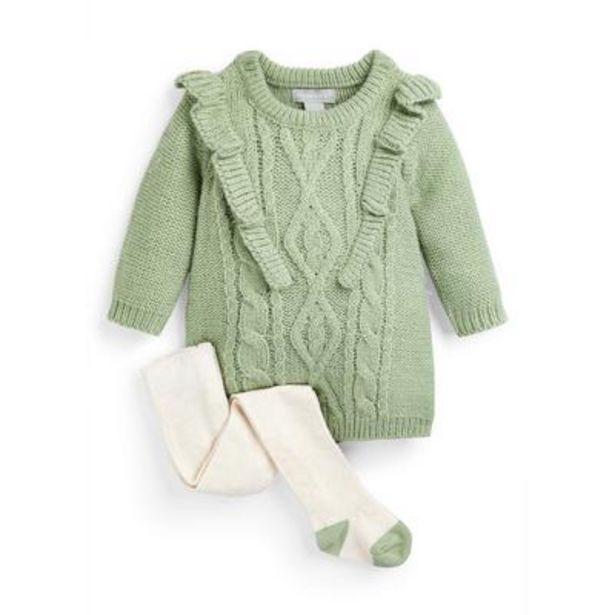 Oferta de Conjunto de vestido de punto verde y leotardos de ochos para bebé niña por 12€