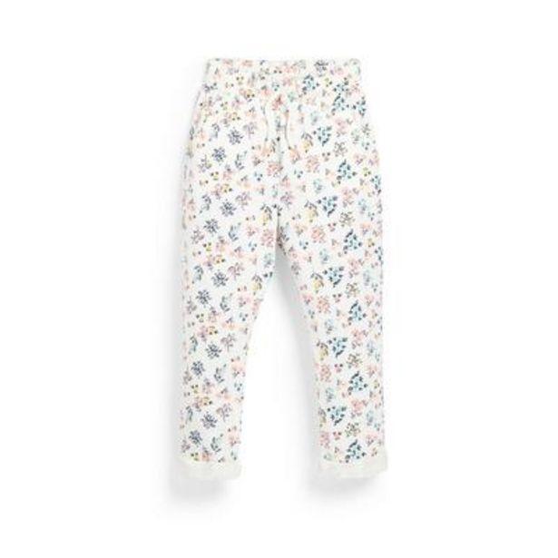 Oferta de Pantalón de chándal blanco con flores para niña pequeña por 6€