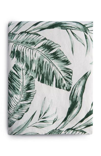 Oferta de Mantel blanco y verde con estampado de hojas por 8€