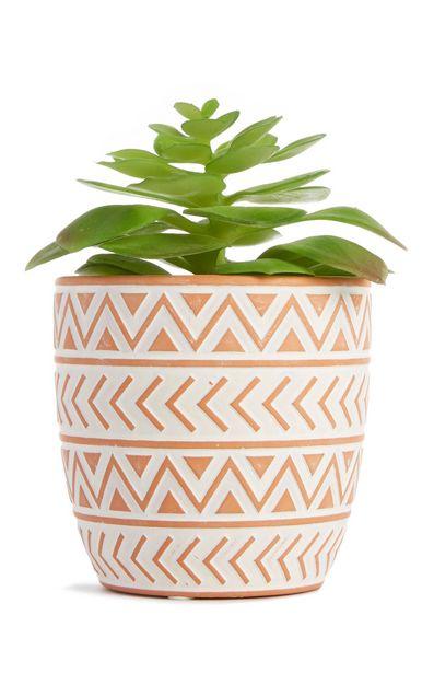 Oferta de Macetero pequeño de cerámica rosa con planta artificial por 6€