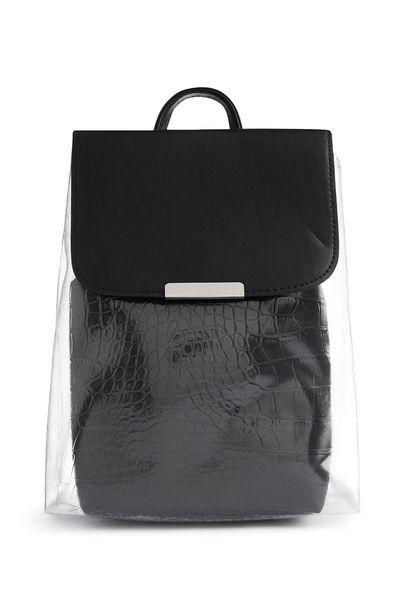 Oferta de Mochila de Perspex negra con textura de cocodrilo por 12€