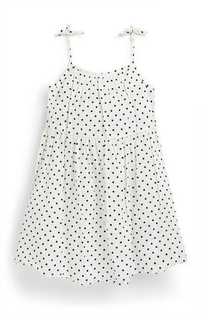 Oferta de Vestido de tirantes blanco con lunares en tejido mil rayas para niña pequeña por 6€