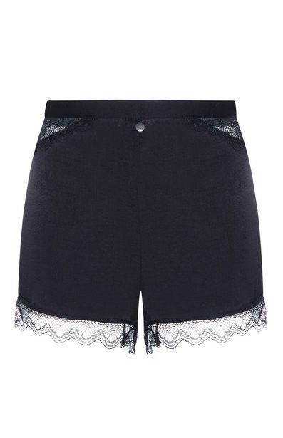 Oferta de Pantalón corto de satén con ribete de encaje negro por 6€