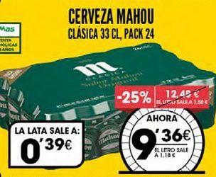 Oferta de Cerveza Mahou por 9,36€