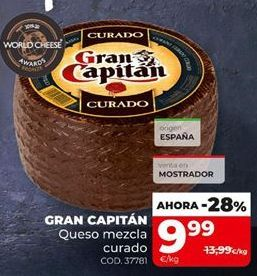 Oferta de Queso mezcla curado Gran Capitán por 9,99€