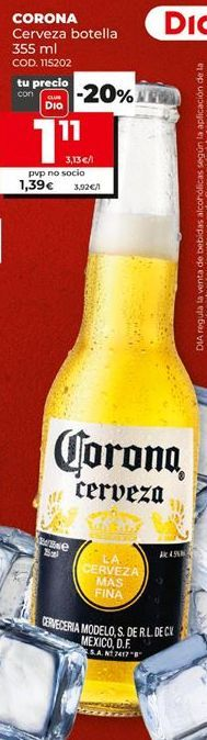 Oferta de Cerveza mejicana Coronas por 1,11€