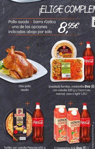 Oferta de Pollo asado + barra rustica+ una de las opciones indicadas abajo por solo por 8,95€