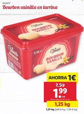 Oferta de Bourbon vainilla en tarrina Gelatelli por 1,99€