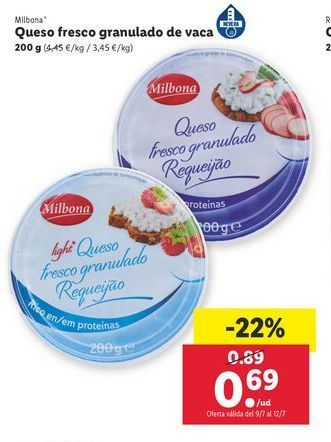 Oferta de Queso fresco granulado de vaca Milbona por 0,69€