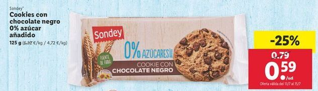 Oferta de Cookies con chocolate negro 0% azúcar añadido Sondey por 0,59€