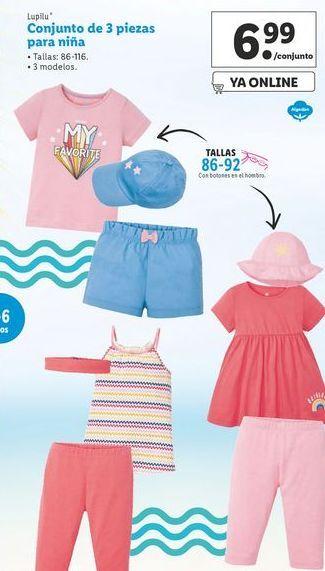 Oferta de Conjunto de 3 piezas para niña Lupilu por 6,99€