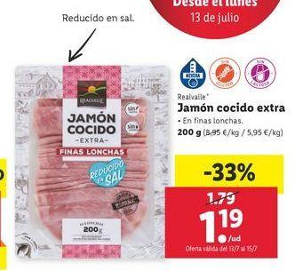 Oferta de Jamón cocido extra Realvalle por 1,19€