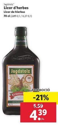 Oferta de Licor de hierbas JAGDSTOLZ por 4,39€