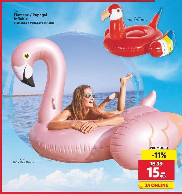 Oferta de Flamenco / Papagayo inflable Crivit por 15€