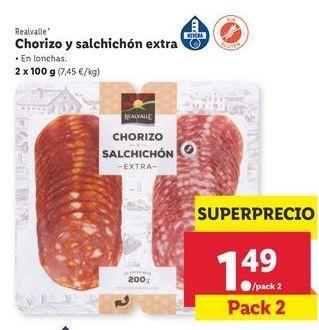 Oferta de Chorizo y salchichón extra Realvalle por 1,49€