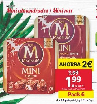 Oferta de Mini almendrados / mini mix Magnum por 1,99€