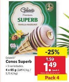 Oferta de Conos Superb Gelatelli por 1,49€