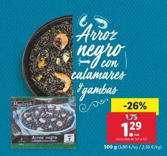 Oferta de Arroz negro con calamares y gambas Monissa por 1,29€