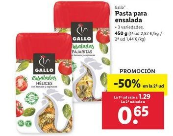 Oferta de Pasta para ensalada Gallo por 1,29€