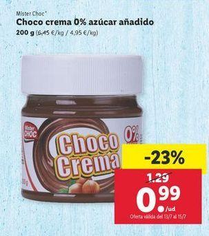 Oferta de Choco crema 0% azúcar añadido Mister Choc por 0,99€