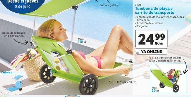 Oferta de Tumbona de playa y carrito de transporte Crivit por 24,99€