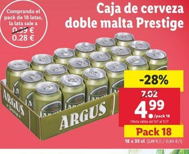 Oferta de Caja de cerveza doble malta Prestige Argus por 4,99€