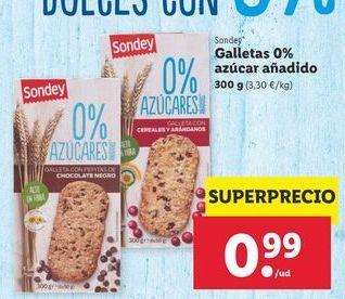 Oferta de Galletas 0% azúcar añadido Sondey por 0,99€