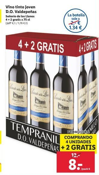 Oferta de Vino tinto joven D.O. Valdepeñas Señorio de los Llanos por 8€
