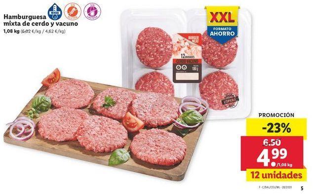 Oferta de Hamburguesa mixta de cerdo y vacuno por 4,99€