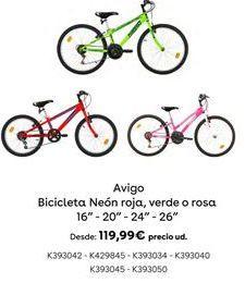 Oferta de Bicicleta Neón roja, verde o rosa por 119,99€