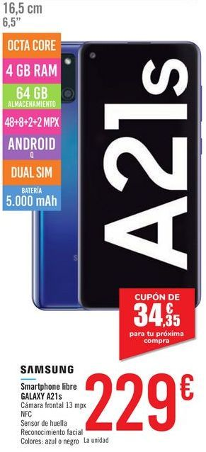 Oferta de Smartphone libre GALAXY A21s SAMSUNG por 229€