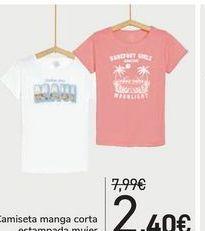 Oferta de Camiseta manga corta estampada mujer  por 2,4€