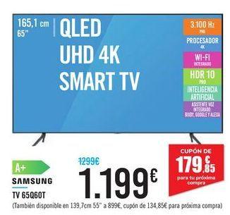 """Oferta de QLED UHD 4K SMART TV 65"""" 65Q60T SAMSUNG por 1199€"""